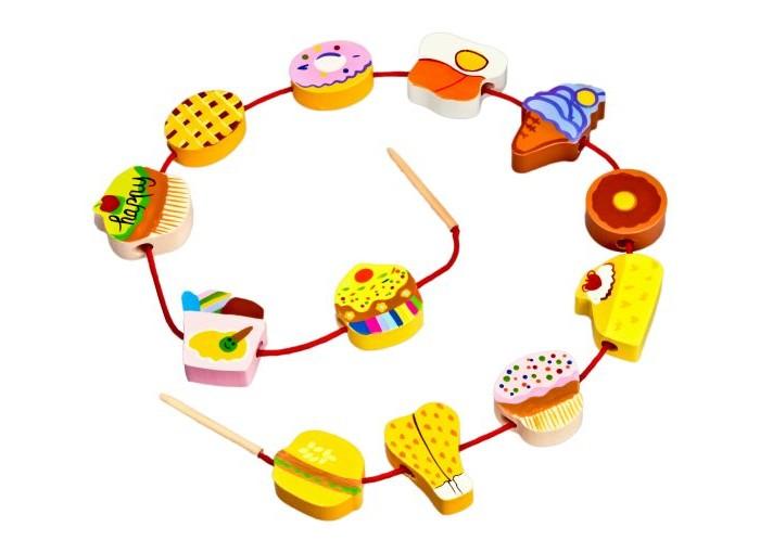 Деревянные игрушки Mapacha Шнуровка - бусы Продукты деревянные игрушки mapacha шнуровка дерево с совятами