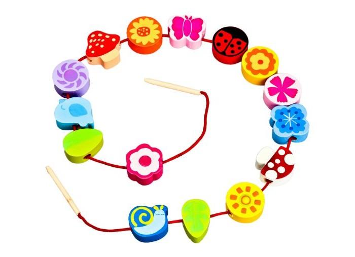 Деревянные игрушки Mapacha Шнуровка - бусы Цветы деревянные игрушки mapacha шнуровка дерево с совятами
