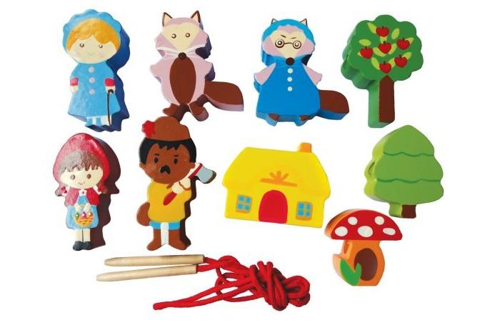 Деревянные игрушки Mapacha Шнуровка - бусы Красная шапочка бусы из тигрового глаза и хрусталя арабель