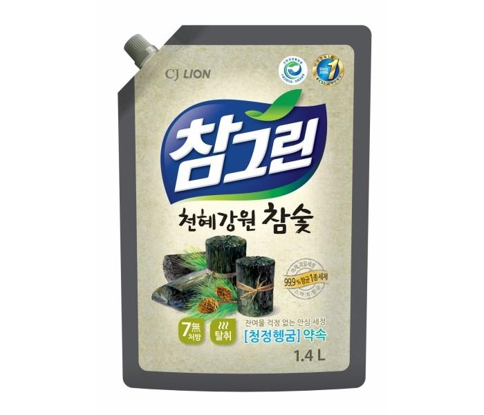 Бытовая химия CJ Lion Средство для мытья посуды Chamgreen с древесным углем мягкая упаковка 1350 мл средство для мытья посуды миф с ароматом лаванды 500 мл