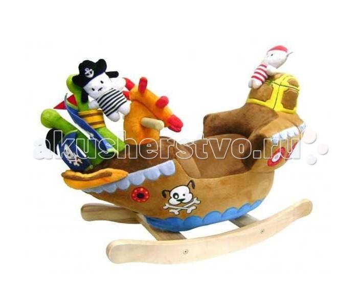 Качалка Felice Корабль с пиратамиКорабль с пиратамиКачалка Felice Корабль с пиратами на деревянной основе. В качалку встроена русская детская песенка, которая включается и отключается нажатием на кнопочку, работает на 2х пальчиковых батарейках АА, в комплект батарейки не входят!<br>