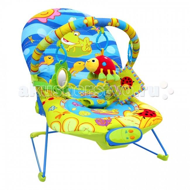 La-di-da Шезлонг Счастливый лягушонокШезлонг Счастливый лягушонокLa-di-da Шезлонг Счастливый лягушонок  La-di-da (MAPA baby) Шезлонг Счастливый Лягушонок для детей до 9 кг. выполнен из приятного мягкого материала, снабжен мягкой ручкой, на которой расположены 3 подвески.  Особенности: Подвески снимаются и заменяются любыми другими Они помогают развивать у ребенка хватательный рефлекс и визуальное восприятие Спинка у шезлонга регулируется Для безопасности малыша, шезлонг снабжен ремнем безопасности Шезлонг с музыкальной панелью (7 меняющихся мелодий) с регулировкой громкости, вибрацией  Работает от батареек АА (в комплект не входят) Размер: 51 х 78 х 59 см<br>