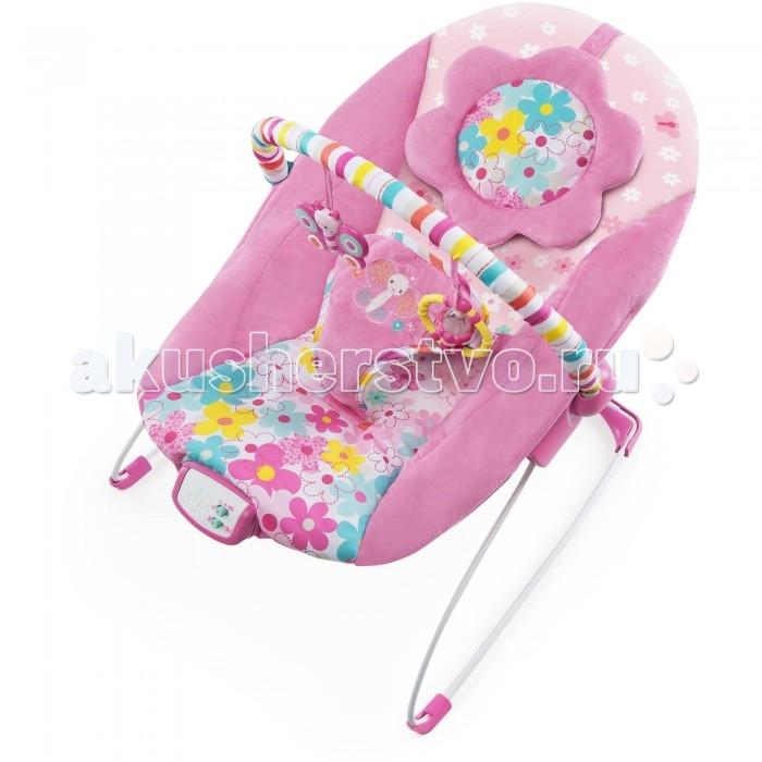 Bright Starts Кресло-качалка Цветочная полянаКресло-качалка Цветочная полянаBright Starts Кресло-качалка Цветочная поляна  Маленькой принцессе понравятся мягкие ткани, комфортное укачивание и забавные игрушки!   Особенности: - Удобное сиденье колыбельного типа с мягкой подушкой для ног и съемным подголовником - 7 мелодий, успокаивающая вибрация и автоматическое отключение через 15 минут - Перекладина с игрушками легко убирается для быстрого доступа к ребенку  - 2 яркие игрушки: бабочка и кольцо с гремящим цилиндром   Дополнительные характеристики: - Регулируемый 3-х точечный ремень безопасности - Сиденье можно стирать в стиральной машине  - 3 батарейки типа С (не входят в комплект)  - Специальные нескользкие ножки  - Размеры товара: 48 х 53 х 42 см  - До 9 кг<br>