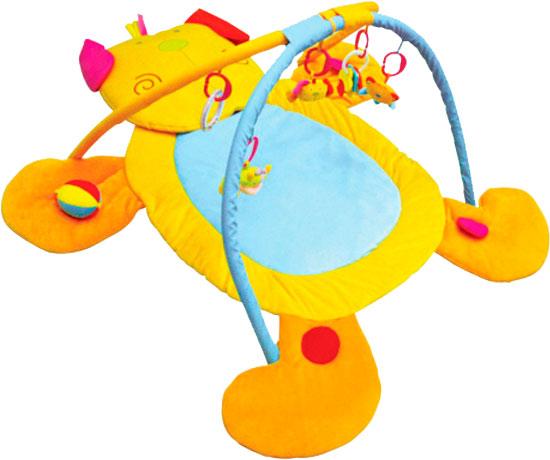 Развивающий коврик Felice СобачкаСобачкаРазвивающий коврик Felice Собачка со звуковыми эффектами. Когда ребенок начнет щупать лапки или мордочку буренки, она будет издавать соответствующий звук.  Особенности: В комплект коврика входят 2 дуги и 5 подвесных погремушек Погремушки можно снимать и играть ими отдельно Коврик изображен в виде собачки со звуковыми эффектами Детский коврик помогает развивать восприятие звуков, цветов, фактур и стимулировать хватательный рефлекс Развивающий коврик легкий и компактный Произведен из экологически чистых материалов, безопасных для людей<br>