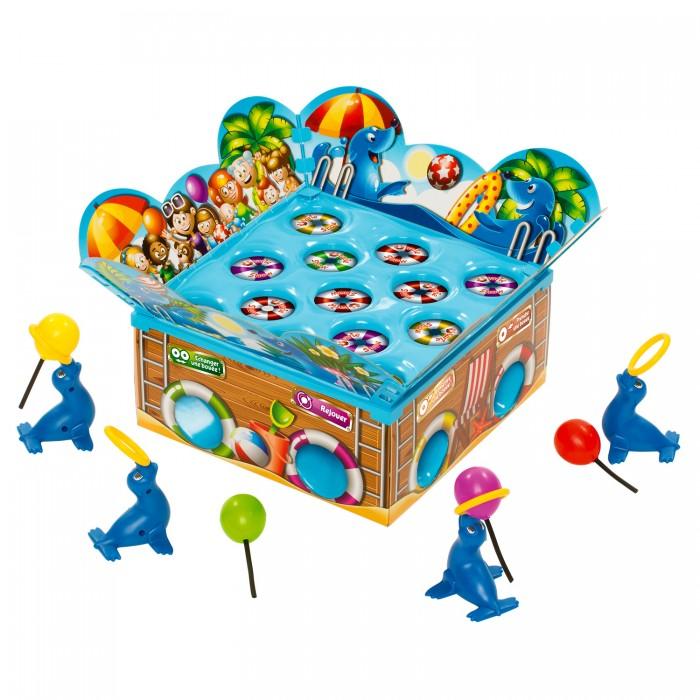 Asmodee Настольная игра Тюлени на аренеНастольная игра Тюлени на аренеAsmodee Настольная игра Тюлени на арене  Увлекательная настольная игра Тюлени на арене понравится всей семье. Она очень динамичная и интересная. В игре могут участвовать от 2 до 4 человек. Средняя продолжительность партии составляет примерно 10 минут. Задача заключается в сборе рыбок. Кто больше их соберет, тот и станет победителем. Для этого необходимо воспользоваться фигуркой тюленя, прицелиться и попасть мячом в специальный спасательный круг с рыбками. Игровое поле представляет собой бассейн с отверстиями. Внутри расположен тюлень с пружинным механизмом. Игра подарит бурю положительных эмоций, смеха и веселья. Она станет превосходным подарком.  Возраст: от 4 лет. Количество игроков: 2-4. Время игры: 10 минут.  В комплекте: 4 мяча 4 тюленя 16 спасательных кругов арена (требует сборки) правила игры.<br>