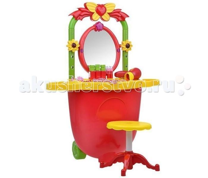 1 Toy Туалетный столик-тележка Золотая коллекцияТуалетный столик-тележка Золотая коллекция1 Toy Туалетный столик-тележка Золотая коллекция очень просто собирается и трансформируется в тележку, в которой можно хранить все аксессуары, входящие в комплект.  Особенности: Зеленая рама для зеркала одновременно является регулируемой ручкой тележки. Прилагающийся к столику фен работает на батарейках, которые надо приобрести отдельно.  С данным набором любая девочка сможет стать стилистом, работающим на выезд.  Комплект: туалетный столик, стульчик, фен, расчёска, 2 помады, 3 лака, 3 кольца, бусы и 2 заколки. Наличие батареек: не входят в комплект.  Размер туалетного столика: 79 х 50 х 47 см.<br>