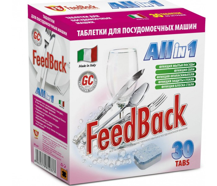 Фото - Бытовая химия Feed Back Таблетки All in 1 для посудомоечных машин 30 шт. бытовая химия jundo active oxygen таблетки для посудомоечных машин с активным кислородом 30 шт