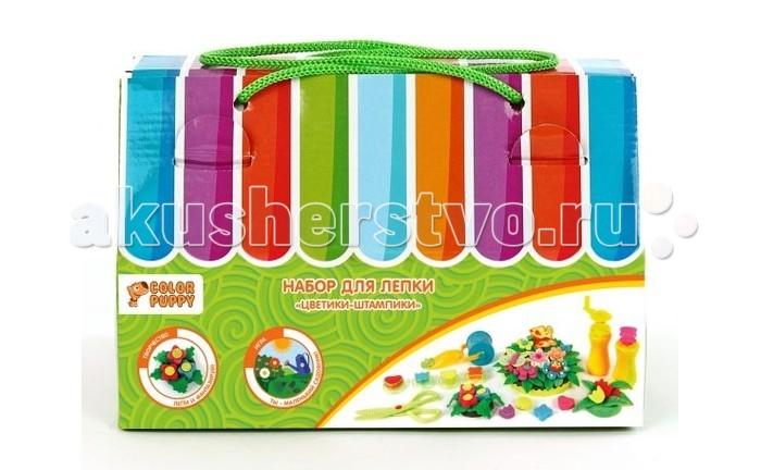 Всё для лепки Color Puppy Набор для лепки Цветики-штампики тесто 240 г и аксессуары color puppy тесто для лепки 26 цветов 442г формы ролик
