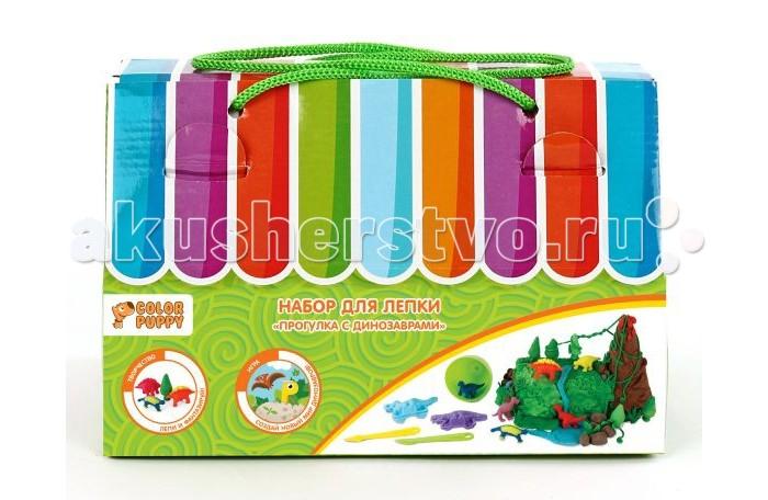 Всё для лепки Color Puppy Набор для лепки Прогулка с динозаврами тесто 240 г и аксессуары color puppy тесто для лепки 26 цветов 442г формы ролик