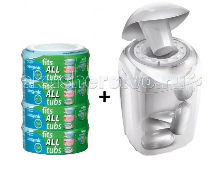 Гигиена и здоровье , Утилизаторы подгузников Tommee Tippee Система для утилизации подгузников Sangenic + кассеты для утилизатора 4 шт. арт: 18260 -  Утилизаторы подгузников