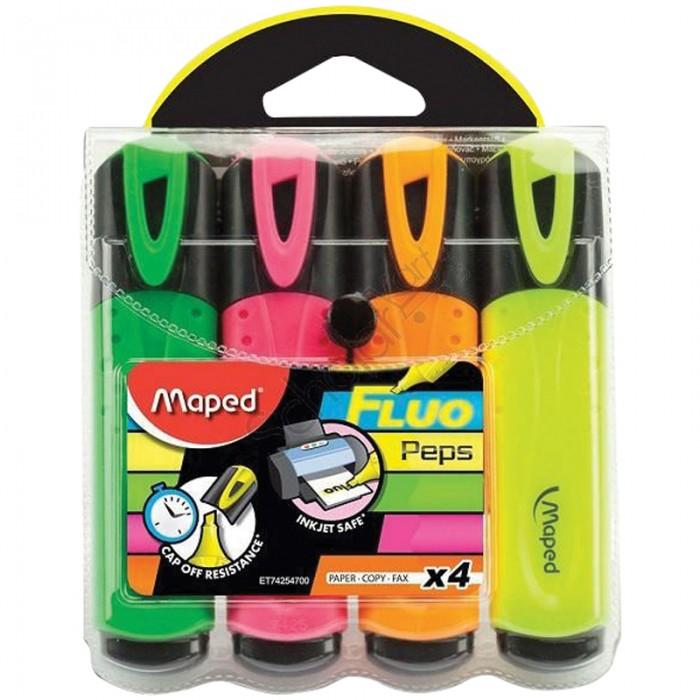 Фломастеры Maped Набор текстовыделителей Fluo Peps Classic 4 цвета 5 мм набор текстовыделителей 4 цвета 1 4мм 108032 00