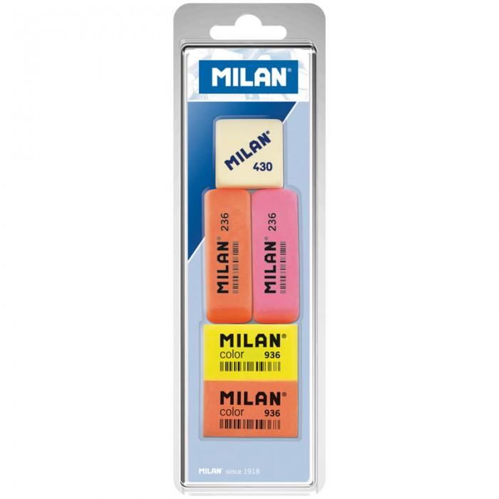 Канцелярия Milan Набор ластиков 236 Color 936 и 430, 5 шт. milan набор ластиков 124 цвет зеленый красный 3 шт