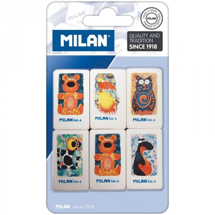 Канцелярия Milan Набор ластиков 436-А 6 шт. milan набор ластиков 124 цвет зеленый красный 3 шт