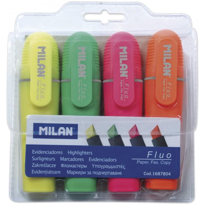 Канцелярия Milan Набор текстовыделителей Fluo 4 цвета 1-5 мм набор текстовыделителей 4 цвета 1 4мм 108032 00