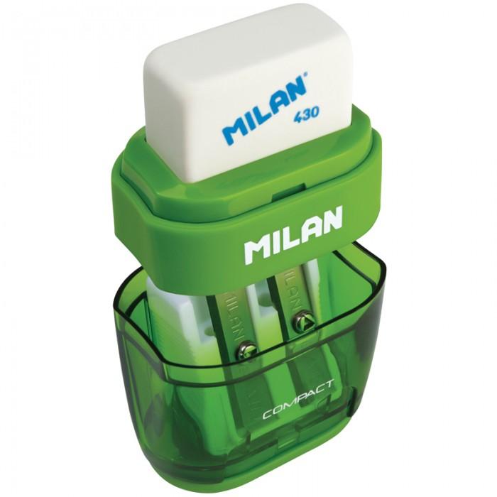 Канцелярия Milan Точилка пластиковая с ластиком Compact 2 отверстия maped точилка i gloo 2 отверстия цвета ассорти пластиковая