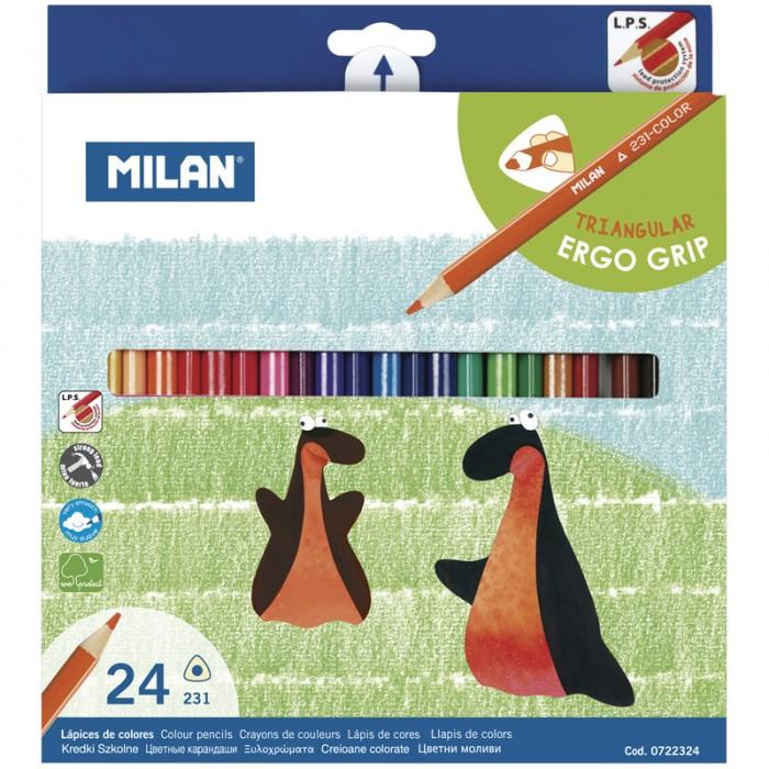 Карандаши, восковые мелки, пастель Milan Карандаши 231 24 цвета трехгранные фонарь maglite 2d синий 25 см в картонной коробке 947191
