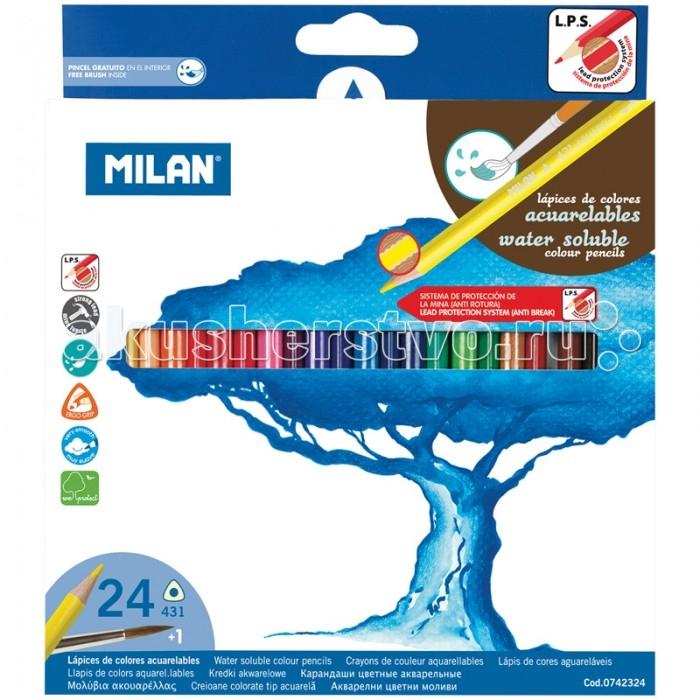 Карандаши, восковые мелки, пастель Milan Карандаши акварельные 431 24 цвета с кистью