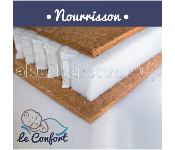 """Матрас Le Confort Nourrisson 120х60х14Nourrisson 120х60х14Детский матрас Le Confort Nourrisson многофункциональный ортопедический, в состав которого входит:  Bi-cocos 2 см – новейший материал, сочетающий в себе свойства искусственных и натуральных материалов. Поддерживает идеальный влаго - и воздухообмен во внутренних слоях матраса. Не вызывает аллергических реакций, не имеет запаха.  Блок независимых пружин 10 см  – способен точечно поддерживать тело ребенка, обеспечивая правильный ортопедический эффект. Это лучшее основание для детских матрасов и для детей в возрасте от 3-х лет.  Кокос 2 см  – (койра, волокна) относится к натуральному природному материалу-наполнителю. Влагоустойчив, отлично вентилируется, не подвержен гниению, размножению бактерий, а также не вызывает аллергических раздражений.   Съемный чехол - ткань Трикотаж  Гигиеничный Воздухопроницаемый Непривлекателен для """"пылевого клеща""""  Размер: 120 x 60 x 14 см<br>"""