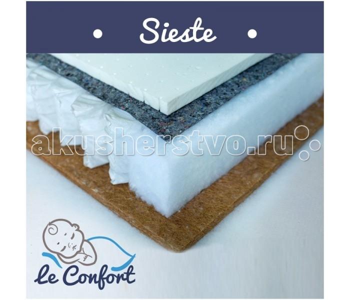 """Матрас Le Confort Sieste 120х60х14Sieste 120х60х14Детский матрас Le Confort Sieste многофункциональный ортопедический, в состав которого входит:  Bi-cocos 2 см – новейший материал, сочетающий в себе свойства искусственных и натуральных материалов. Поддерживает идеальный влаго - и воздухообмен во внутренних слоях матраса. Не вызывает аллергических реакций, не имеет запаха.  Блок независимых пружин 10 см  – способен точечно поддерживать тело ребенка, обеспечивая правильный ортопедический эффект. Это лучшее основание для детских матрасов и для детей в возрасте от 3-х лет.  Латекс 2 см  – современный наполнитель для матрасов. Гибкий и эластичный, не деформируется, экологически чистый, нетоксичный, гипоаллергенный. Имеет высокую износоустойчивость, не имеет запаха.  Съемный чехол - ткань Трикотаж Alpaka  Гигиеничный Воздухопроницаемый Непривлекателен для """"пылевого клеща""""  Размер: 120 x 60 x 14 см<br>"""