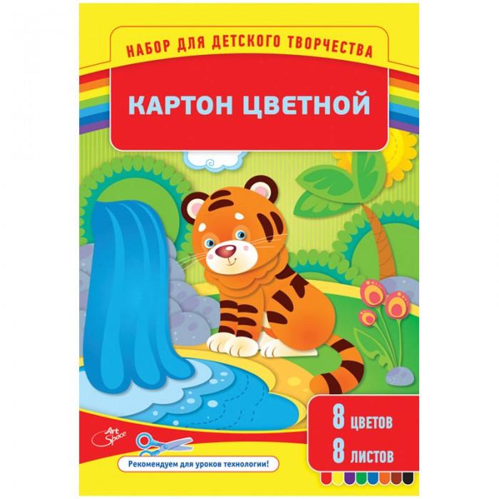 Канцелярия Спейс Картон цветной А4 8цветов мелованный в папке 8 листов hansa мягкая игрушка сова hansa 25см