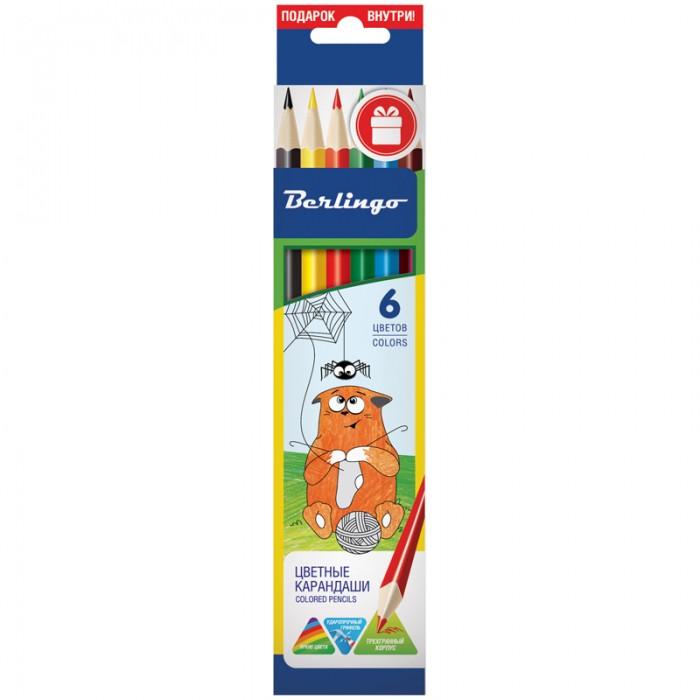 Карандаши, восковые мелки, пастель Berlingo Карандаши Жил-был кот 6 цветов карандаши восковые мелки пастель berlingo карандаши замки 18 цветов