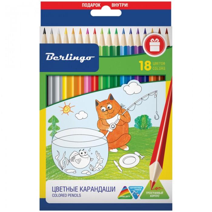 Карандаши, восковые мелки, пастель Berlingo Карандаши Жил-был кот 18 цветов карандаши восковые мелки пастель berlingo карандаши замки 18 цветов