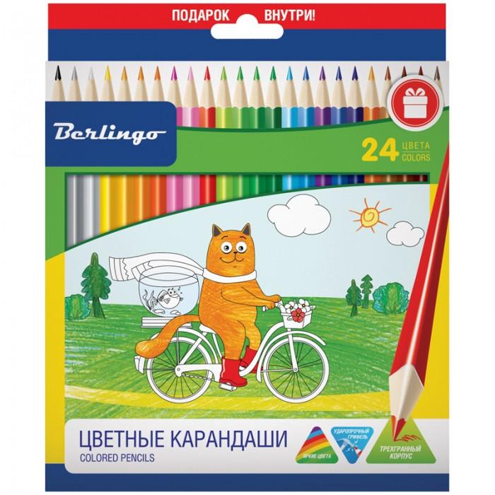 Карандаши, восковые мелки, пастель Berlingo Карандаши Жил-был кот 24 цвета карандаши джунгли 24 цвета tz 4028