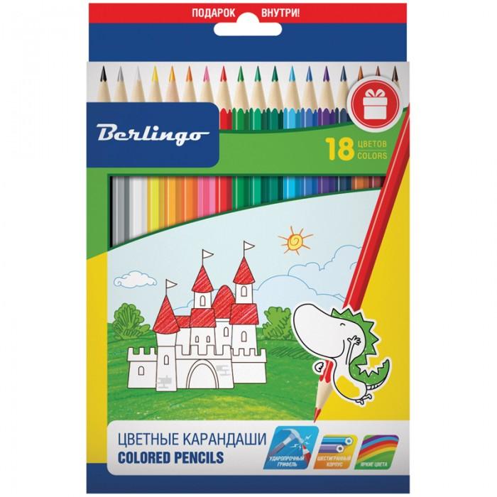 Карандаши, восковые мелки, пастель Berlingo Карандаши Замки 18 цветов карандаши восковые мелки пастель berlingo карандаши замки 18 цветов