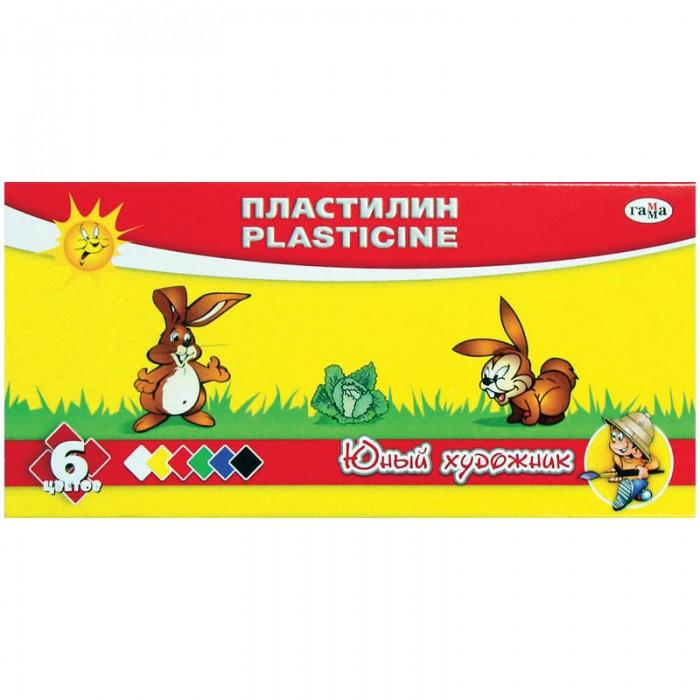 Всё для лепки Гамма Пластилин Юный художник 6 цветов пластилин детский классика 16 цветов 20с 1329 08