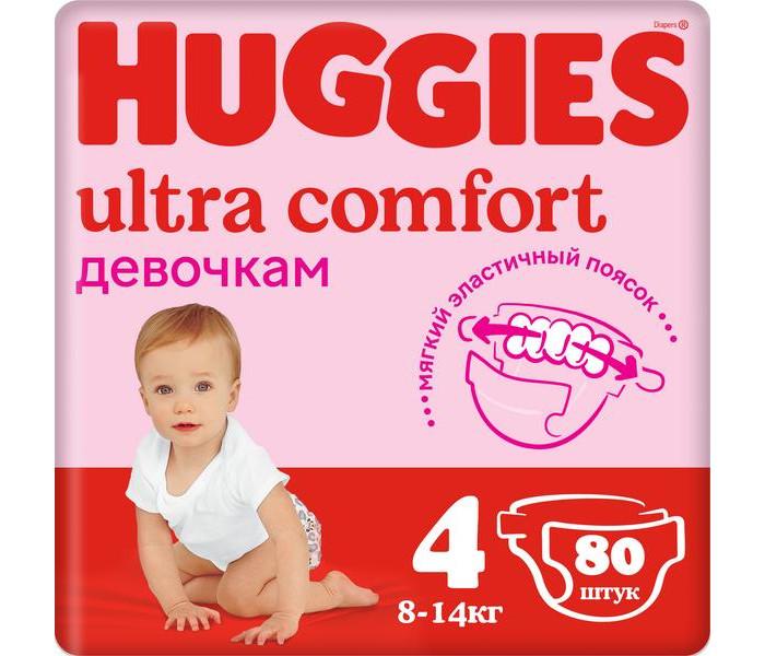 Подгузники Huggies Подгузники Ultra Comfort Giga Pack для девочек 4 (8-14 кг) 80 шт. huggies подгузники ultra comfort для девочек 4 8 14 кг 19шт huggies