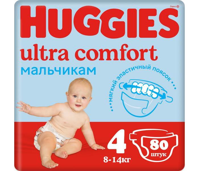 Подгузники Huggies Подгузники Ultra Comfort Giga Pack для мальчиков 4 (8-14 кг) 80 шт. huggies подгузники huggies ultra comfort для девочек giga pack 4 8 14 кг 80 шт