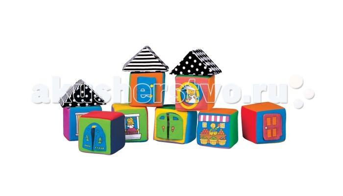 Развивающая игрушка KS Kids Мягкие кубикиМягкие кубикиМягкие кубики в коробке K`s Kids.   Особенности:   Грани кубиков выполнены из разных материалов: ситец, бархат, вельвет, атлас. При игре развиваются тактильные ощущения.  На каждой грани есть окошко или дверца, которые можно открыть и посмотреть, кто живет внутри. 6 кубиков гремят, как погремушки, на 2 кубиках есть шуршалки.  Крыши раскрашены в чёрно-белые цвета. По мнению специалистов именно такие рисунки лучше всего видят новорожденные дети. Поэтому Вы можете показывать такие кубики малышам уже в первые месяцы жизни.  Игра с такими кубиками интересна и безопасна для ребенка. Можно просто мять кубики в руках, открывать дверки, можно строить домики и башенки. Мягкие кубики можно кидать, на них не больно наступить.  Размер: - кубики 8х8х8 см - крыши 10х5х8 см<br>