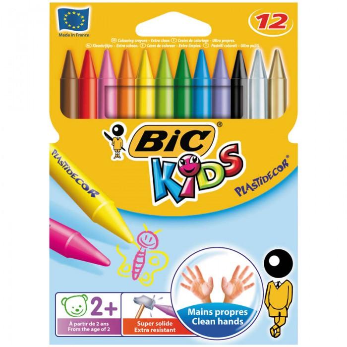 Карандаши, восковые мелки, пастель BIC Мелки пластиковые Plastidecor 12 цветов карандаши восковые мелки пастель bic карандаши evolution 93 заточенные 12 цветов