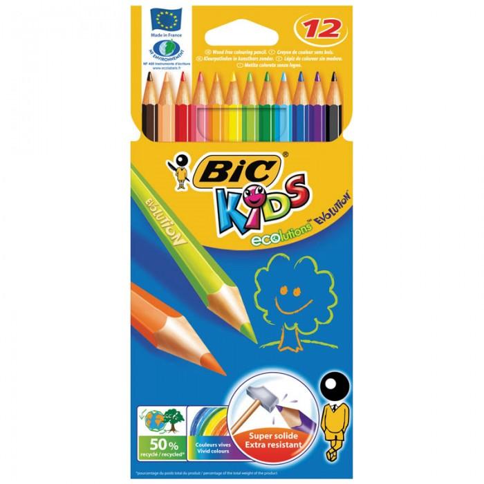 Карандаши, восковые мелки, пастель BIC Карандаши Evolution 93 заточенные 12 цветов карандаши