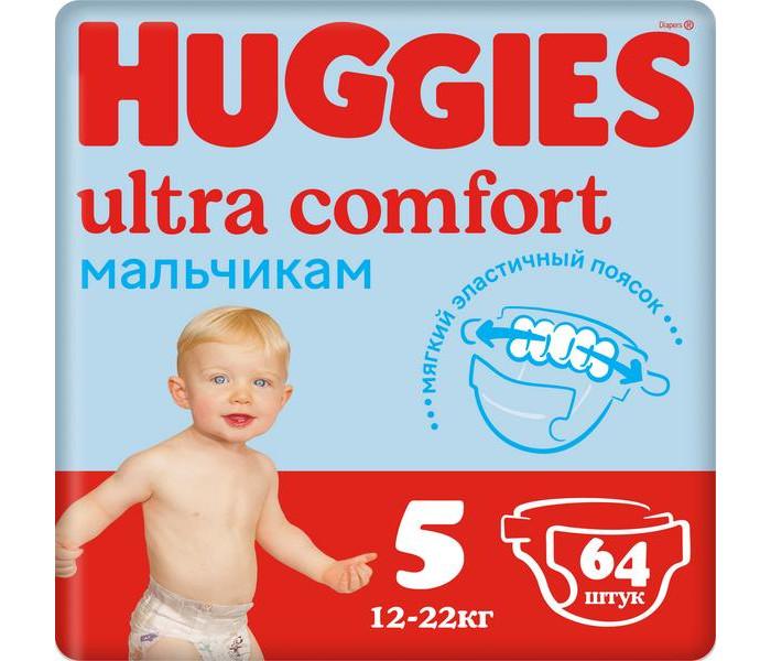 Подгузники Huggies Подгузники Ultra Comfort Giga Pack для мальчиков 5 (12-22 кг) 64 шт. huggies подгузники huggies ultra comfort для девочек giga pack 4 8 14 кг 80 шт