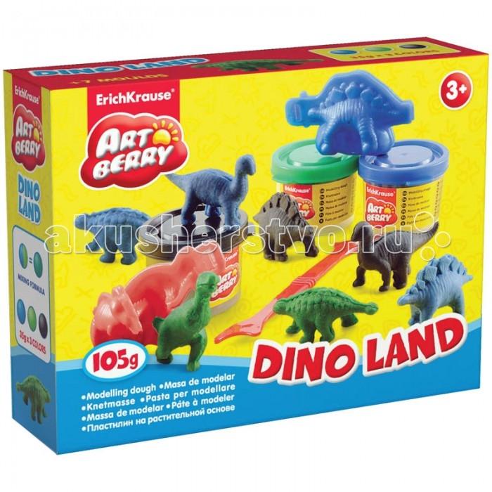 Всё для лепки Erich Krause Масса для лепки Dino Land 3 цвета по 35 г с формочками пластилин erich krause со стеком 18 цветов