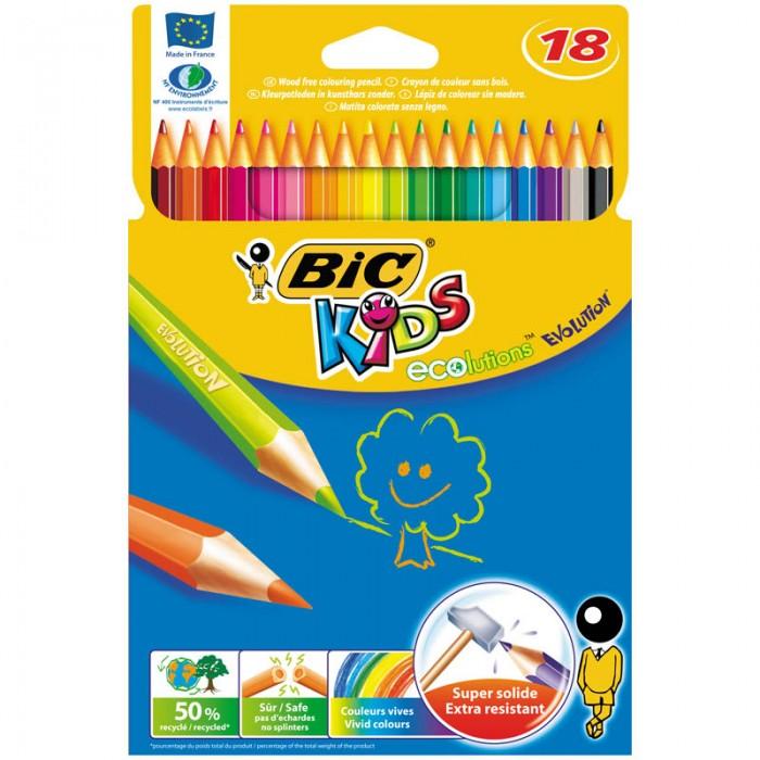 Карандаши, восковые мелки, пастель BIC Карандаши Evolution 93 заточенные 18 цветов цветные карандаши bic kids evolution 24 цвета