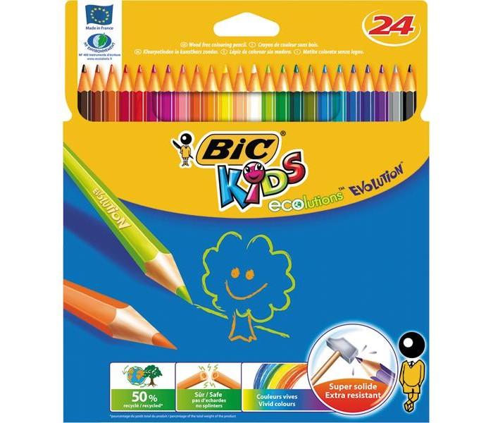 Карандаши, восковые мелки, пастель BIC Карандаши Evolution 93 заточенные 24 цвета цветные карандаши bic kids evolution 24 цвета