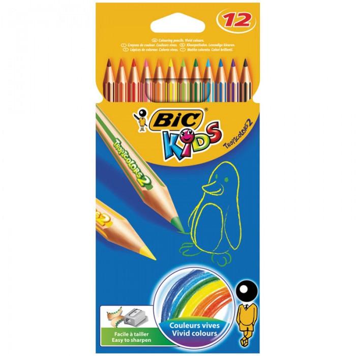 Карандаши, восковые мелки, пастель BIC Карандаши Tropicolors2 заточенные 12 цветов карандаши