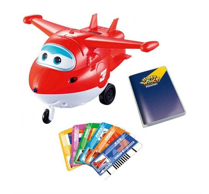 Вертолеты и самолеты Super Wings Самолет Джетт с пластиковыми карточками разных стран