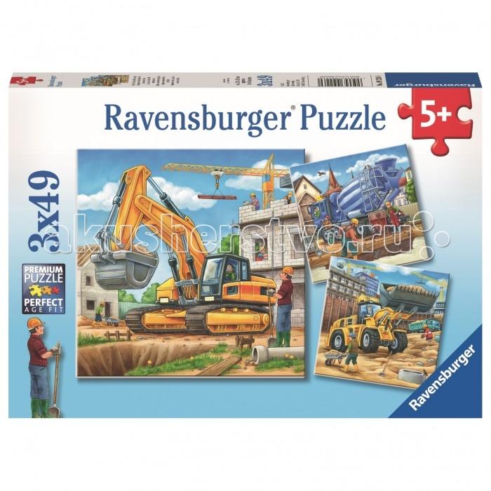 потрогай и узнай большие машины Пазлы Ravensburger Пазл Большие строительные машины 3х49 элементов