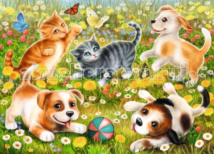 Пазлы Ravensburger Пазл Котики и собачки 60 элементов горбунова и в метровая раскраска котики и котята