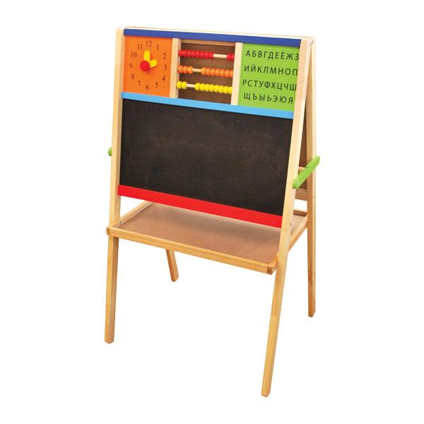 Im toy Двусторонний мольберт с часами, счетами и алфавитомДвусторонний мольберт с часами, счетами и алфавитомДвусторонняя деревянная доска  с множеством интерактивных функций.   Этот мольберт поможет ребенку узнать цифры и буквы, научиться считать, расскажет, как распознать время по часам со стрелками. Две стороны для рисования различными материалами разовьют фантазию и покажут, чем отличается творчество мелками от фломастеров.   Специальная вставка для держания рулона бумаги позволяет рисовать не только на самой доске, но и на бумаге, которую легко оторвать и сохранить произведение искусства.  Доска компактно складывается, что позволяет пользоваться ей даже в небольших помещениях.  Размер упаковки: Высота доски 110 см.<br>