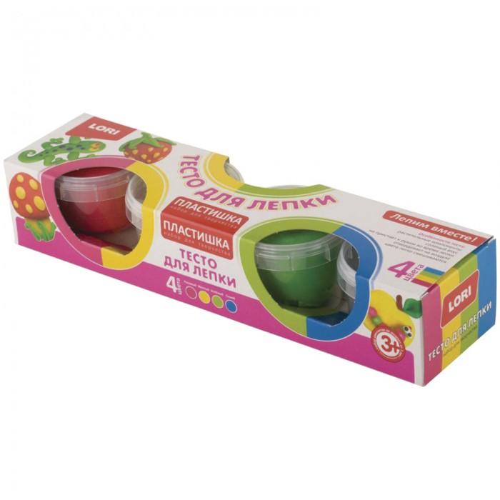Всё для лепки Lori Тесто для лепки Пластишка Яркие цвета 4 цвета по 80 г всё для лепки lori тесто для лепки пластишка 7 цветов по 30 г