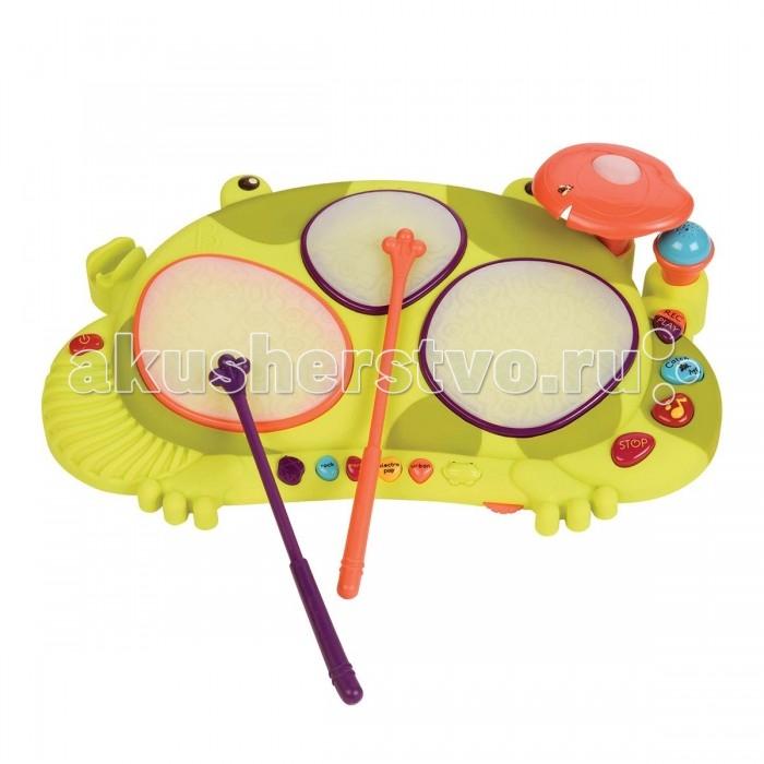 Музыкальная игрушка Battat Мульти-барабан ЛягушкаМульти-барабан ЛягушкаМульти-барабан Лягушка  Стучи в барабан свою мелодию и двигайся под ее ритм, а потом воспроизведи запись, исполненную забавным дурашливым голосом!  Барабан может превратится в лягушку игрушку для игры по ловли мух!  Внимательно следуй за загорающимися огнями на кувшинках-барабанах и стучи по мухе, как только она появится. Чем больше ты ловишь, тем быстрее они появляются снова! А чтобы понять, достиг ли ты своей цели, лягушка оснащена специальными веселыми звуками.  В комплект входят 4 батарейки типа АА.  Игрушка пластмассовая с электронным звуковым устройством, с питанием от АА*6 (входят в комплект)<br>