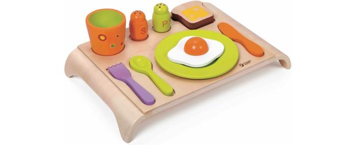 Деревянная игрушка Classic World Развивающая игра Весёлый завтракРазвивающая игра Весёлый завтракВесёлый завтрак представляет собой игру два в одном - сортер и удивительный набор для увлекательных сюжетно-ролевых игр.  В набор входят самый настоящий поднос и столовые приборы: вилка, нож, ложка, стильный стакан, аксессуары под специи, а так же вкусная и полезная еда - тост и яичница.   Играя с этим набором ребенок в игровой форме развивает творческое мышление, любознательность и логику.   Набор изготовлен из экологически чистого дерева с использованием безопасных для здоровья ребенка красок.<br>