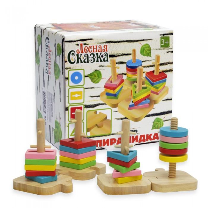 Деревянные игрушки Фабрика фантазий Сортер Пирамидки 4 фигуры, 20 деталей 47476
