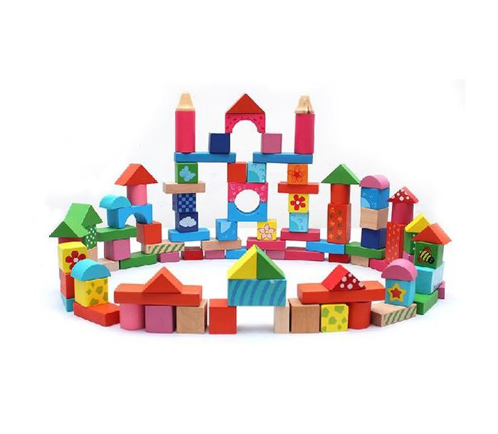 Деревянные игрушки Фабрика фантазий Конструктор Веселые картинки 100 деталей 42266 деревянные игрушки фабрика фантазий сортер бабочка
