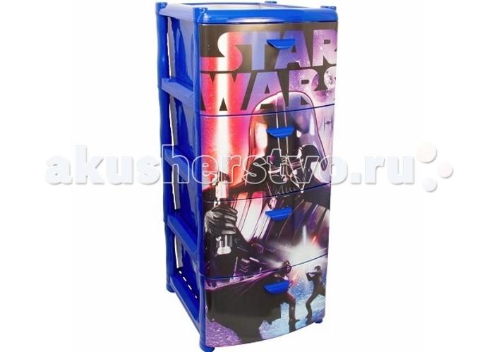 Idea (М-Пластика) Звёздные войныЗвёздные войныКомод Звёздные войны изготовлен из прочного пластика и состоит из 4х секций, составленных друг на друга.  Качественный пластик и фурнитура делают комод удобным в использовании.<br>