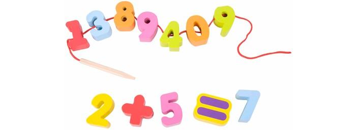 Деревянные игрушки Classic World Развивающая игра-шнуровка Весёлая математика classic world классический самолет 27 деталей